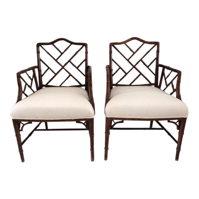 1980s Vintage Faux Bamboo Arm Chairs- A Pair For Sale