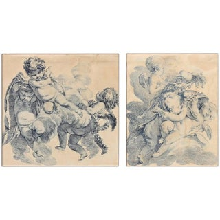 Early 19th Century Engravings of Cherubs - a Pair For Sale