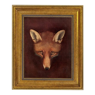 """Fox Head"" Oil Painting Print on Canvas in Antiqued Gold Frame by Reinagle For Sale"
