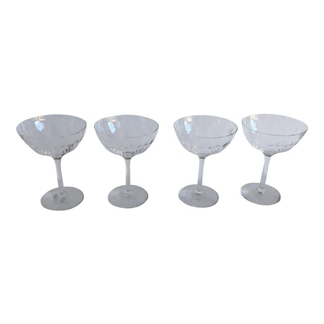 Midcentury Floral Etched Clear Champagne Glasses S/4 For Sale