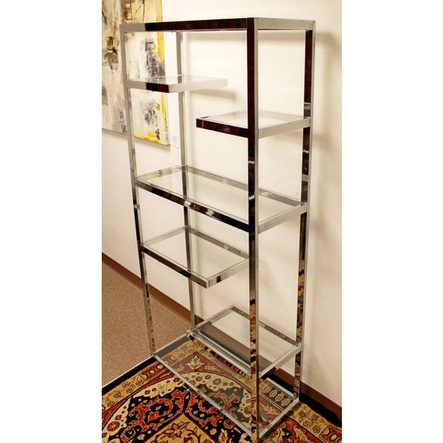 Mid-Century Modern Mid-Century Modern Milo Baughman Chrome & Glass Shelves Etagere 1970s For Sale - Image 3 of 8