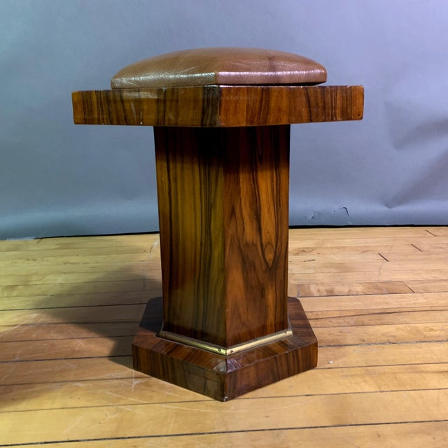 1960s Pair Hexagonal Rosewood and Brass Stool, France 1960s For Sale - Image 5 of 11
