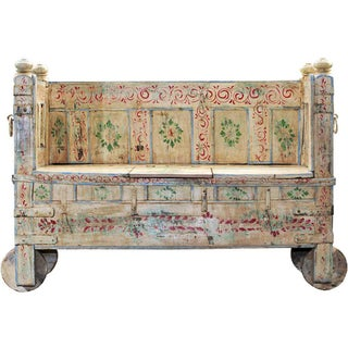 Memory Lane Hand-Painted Wooden Storage Bench For Sale
