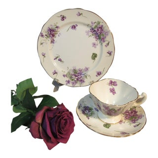 1939 Hammersley Victorian Violets Plate Cup & Saucer - Set of 3 For Sale