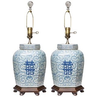 Hexagon Chinese Lidded Jars as Table Lamps- A Pair For Sale