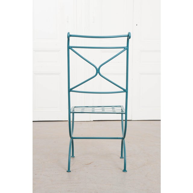 Metal Suite of Eight Early 20th-Century Neoclassical-Style Painted Wrought-Iron Side Chairs For Sale - Image 7 of 13