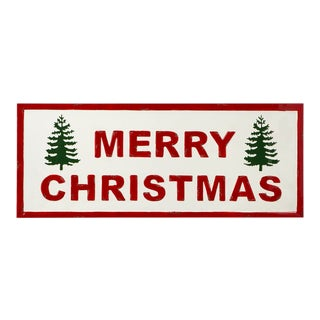 """Kenneth Ludwig Red & White Enamel """"Merry Christmas"""" With Trees Sign For Sale"""