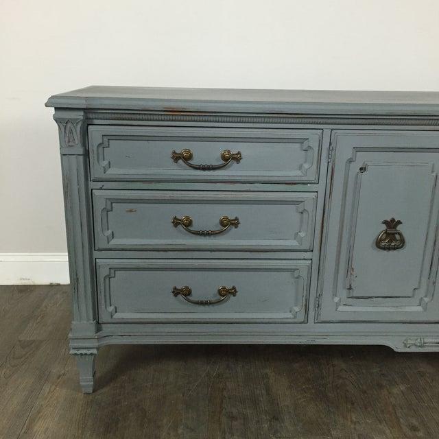 Vintage Gray-Blue Credenza - Image 4 of 11