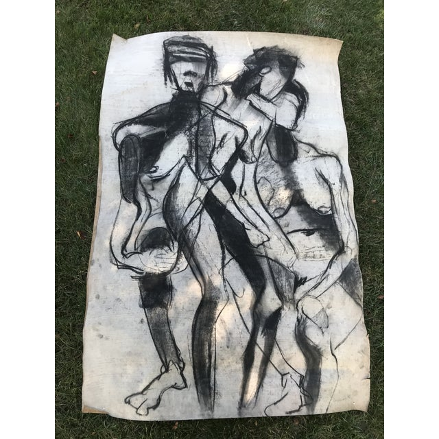 1950s Vintage Chalk Man & Woman Nudes Large Abstract Drawing For Sale - Image 9 of 9