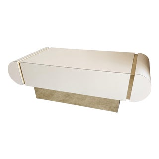 Art Deco White Lacquer and Brass Coffee Table For Sale