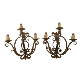 Large Forged Metal French 3 Arm Sconces For Sale