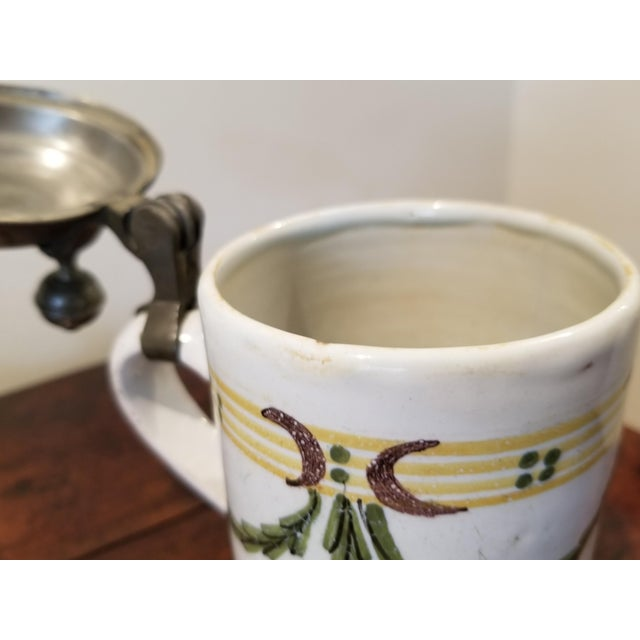Metal Circa 1741 Rouen French Faience Plate and Beer Stein For Sale - Image 7 of 11