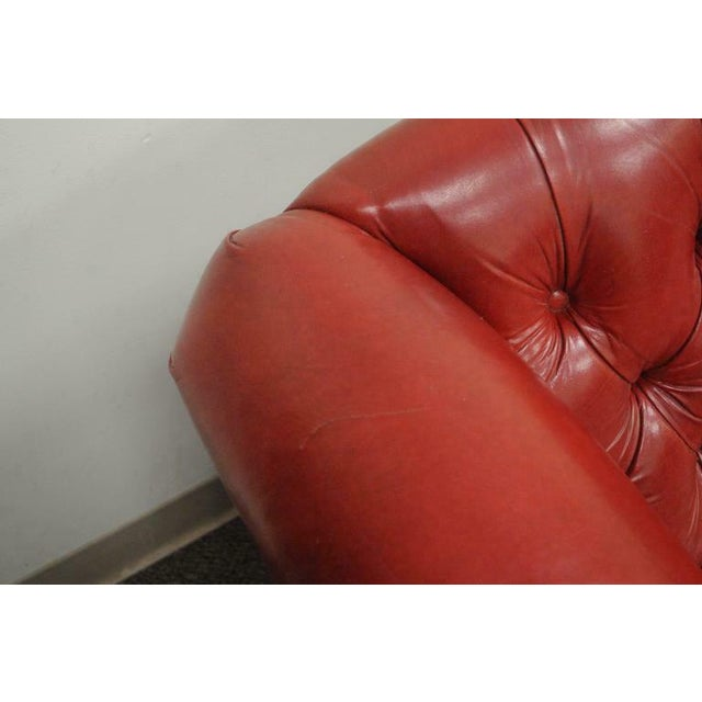 Wood Vintage Red Leather English Chesterfield Style Button Tufted Sofa by Jasper For Sale - Image 7 of 11