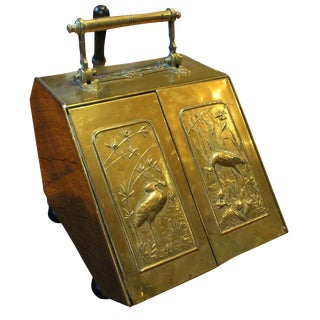 Brass Coal Hod & Shovel For Sale