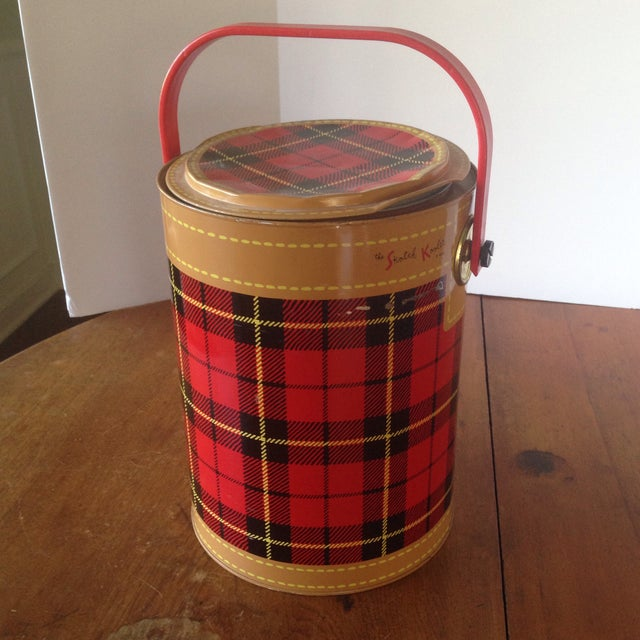 Mid Century Metal Plaid Cooler/Ice Bucket - Image 3 of 11