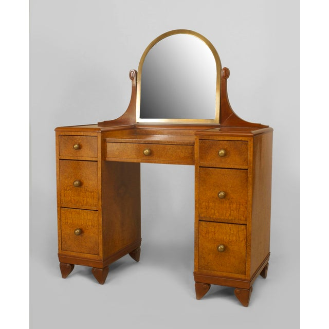 Art Deco French Art Deco Amboyna Wood Kneehole Dressing Table For Sale - Image 3 of 3