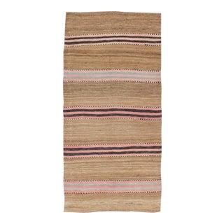 Striped Turkish Vintage Kilim Flat-Weave Rug in Shades of Camel & Light Brown. For Sale