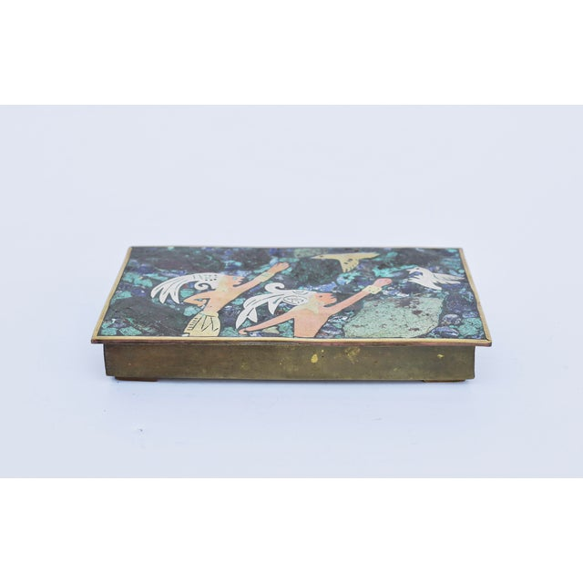 Amazing Mexican 1960's mixed metal & stone box from the 1960's.