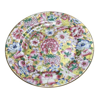 Mid 20th Century Vintage Chinese Gilt Millefleurs Cabinet Plate For Sale