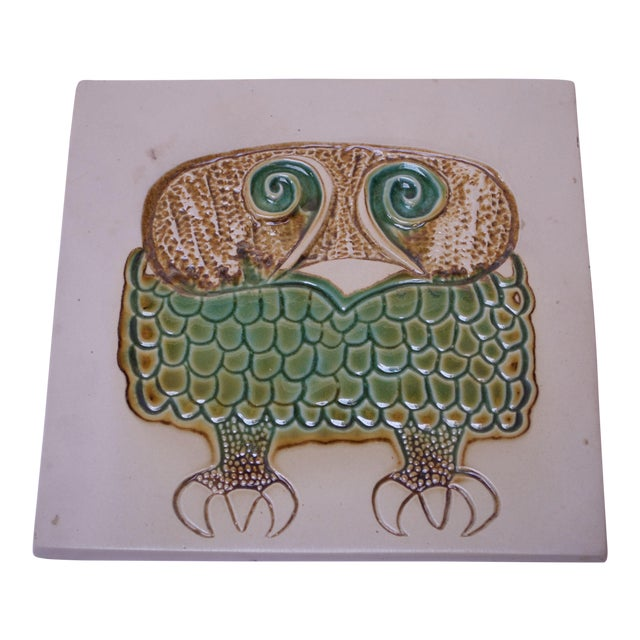 Mid-Century Owl Trivet / Wall Tile by David Gil for Bennington Potters For Sale