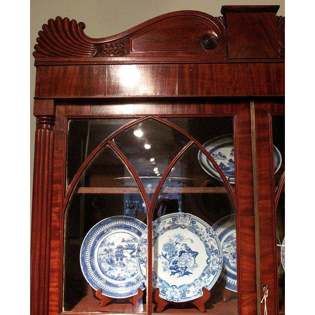 English William IV Mahogany Secretary Bookcase For Sale - Image 4 of 11