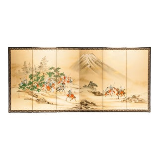 """Lawrence & Scott """"Hunting Scene"""" Japanese-Style 6-Panel Ink on Paper Room Divider Screen For Sale"""