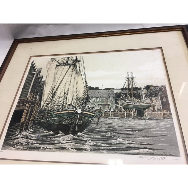 """Nautical 1981 Alan Jay Gaines """"The Lookout"""" Aquatint Print For Sale - Image 3 of 9"""