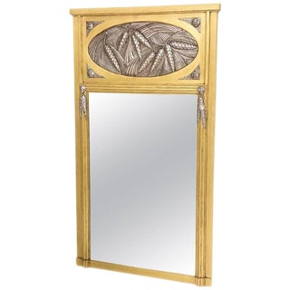 American Art Deco Trumeau Mirror in Gold and Silver Leaf