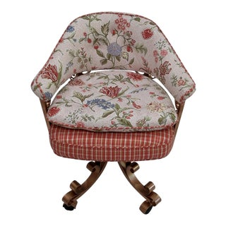 French Floral Swivel Desk Chair For Sale