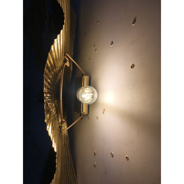 Fan Leaf Motif Gold Metal Wall Sconces - a Pair For Sale - Image 6 of 12