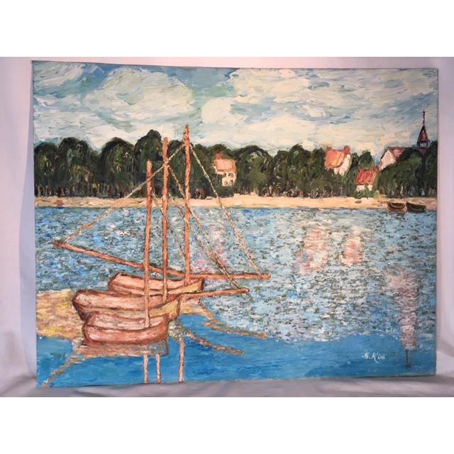 Impressionist waterfront oil painting on canvas board by S. Kim. This beautiful original vintage oil painting depicts a...