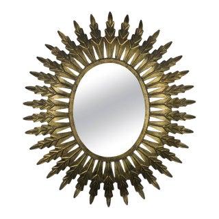 Gilt Metal Oval Sunburst Mirror