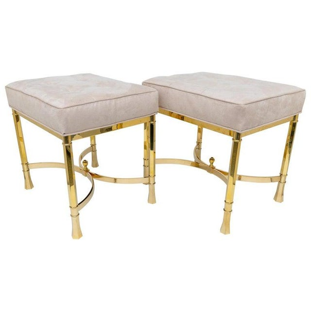 Vintage Mastercraft Benches Stools Brass and Ultrasuede - a Pair For Sale - Image 13 of 13