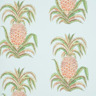 Schumacher Pineapples Wallpaper in Sky (9 Yards) For Sale