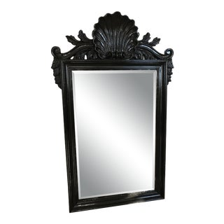 Coastal Regency Ornate Scalloped Shell Black Lacquered Mirror For Sale