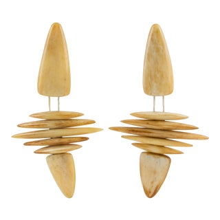 Gerda Lyngaard for Monies Tribal Dangling Clip Earrings Polished Bones For Sale