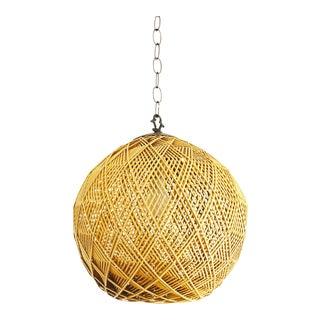 Vintage Rattan Sphere Hanging Lamp