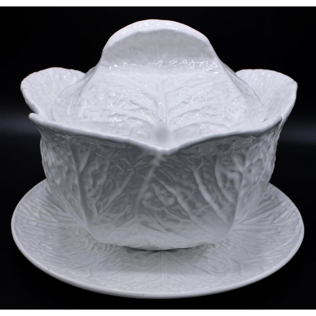Mid-20th Century White Cabbage Pottery Tureen and Plate Set For Sale - Image 11 of 13