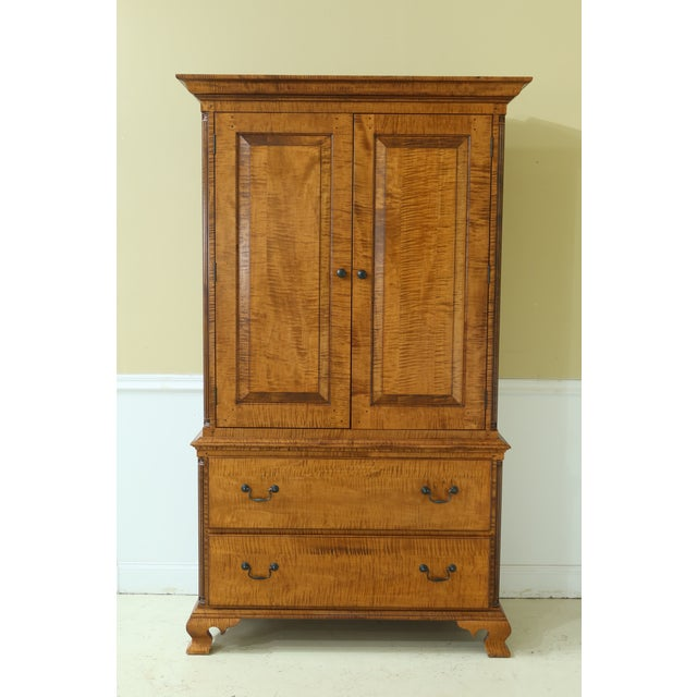 Benchmade Tiger Maple Linen Press Armoire Cabinet For Sale - Image 13 of 13