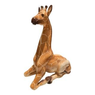 Mid 20th Century Handpainted Italian Ceramic Giraffe Figurine For Sale