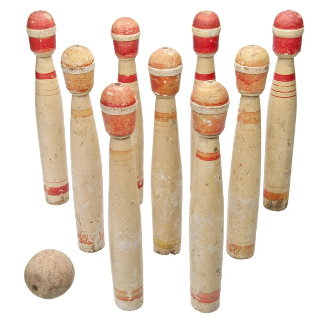 Vintage French Wood Skittles With Ball - Set of 9 - Image 1 of 3