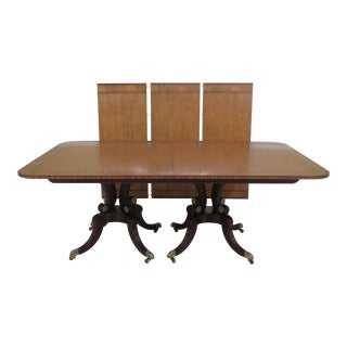 Baker Satinwood Top Mahogany Base Dining Room Table For Sale