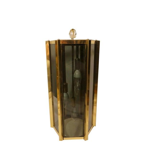 Fredrick Ramond Fredrick Ramond Smoked Glass & Brass Pendant Lamp For Sale - Image 4 of 6