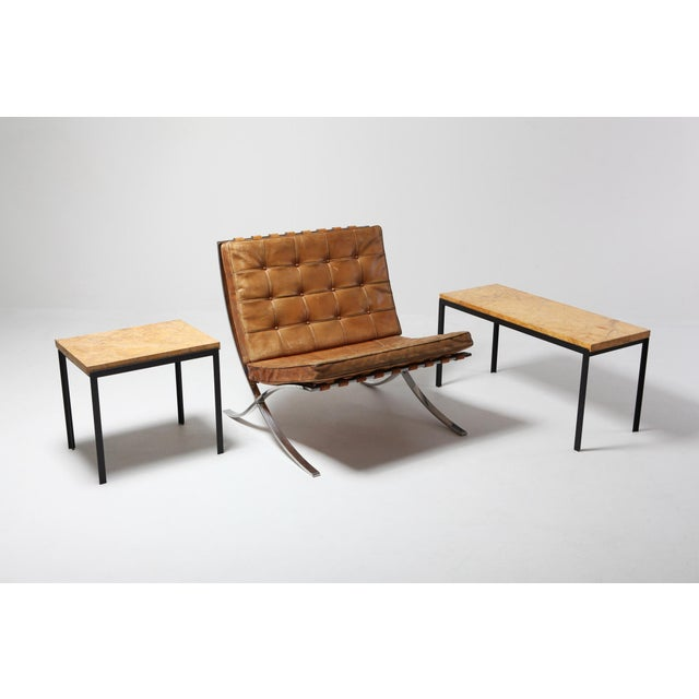 Florence Knoll Marble & Black Steel Side Tables For Sale - Image 6 of 10