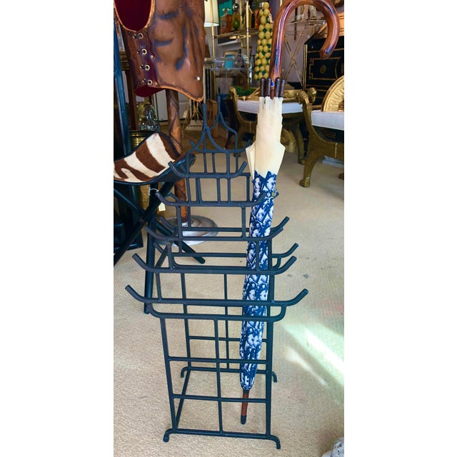 Black Chinoiserie Steel Pagoda Shape Umbrella Stand For Sale - Image 8 of 9