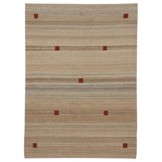 Contemporary Indian Dhurrie Flat-Weave Kilim Rug - 4′9″ × 6′6″ For Sale