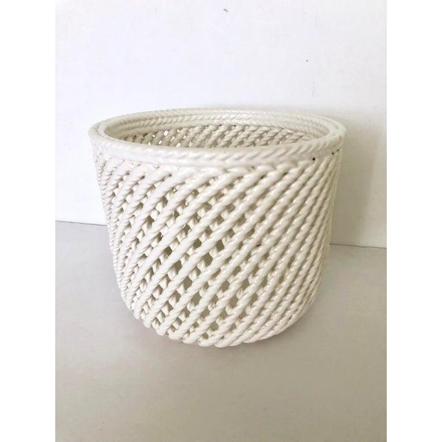 Vintage White Ceramic Lattice Flower Pot For Sale - Image 11 of 11