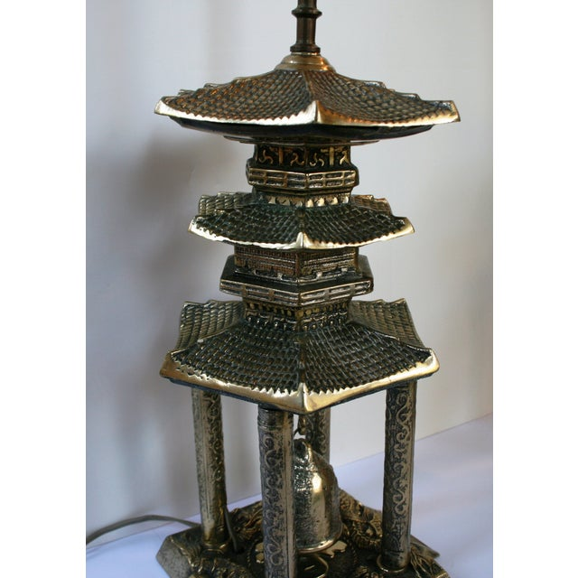 Vintage Brass Pagoda Lamps - A Pair For Sale - Image 4 of 11