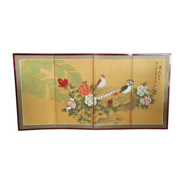 Japanese Silk Byobu Screen With Pheasants - Image 1 of 8