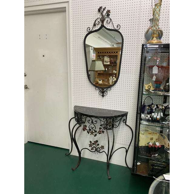 Early 19th C Hand Wrought Iron & Marble Console & Mirror Set For Sale In Miami - Image 6 of 6